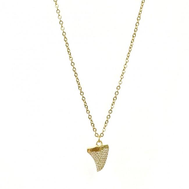 Collana 42 cm 1 charm dente di squalo grande