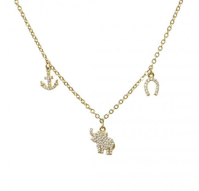 Collana Catena Semplice 42 cm più allungo ancora-elefantino-ferro di cavallo zirconi