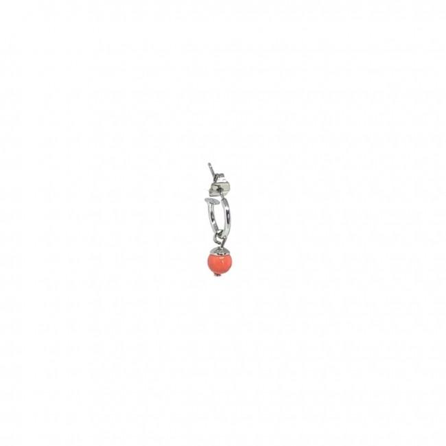 Cerchio singolo 1 cm Perla Corallo/Turchese
