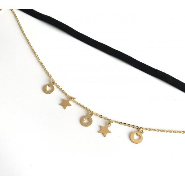 Collana in velluto nero regolabile e catena con 5 charms