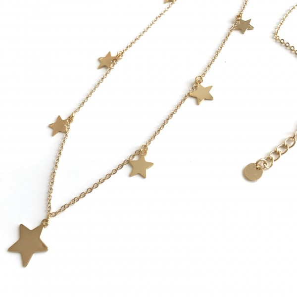 Collana Catena 72 cm più allungamento 8 stelle o cuori + 1 centrale grande