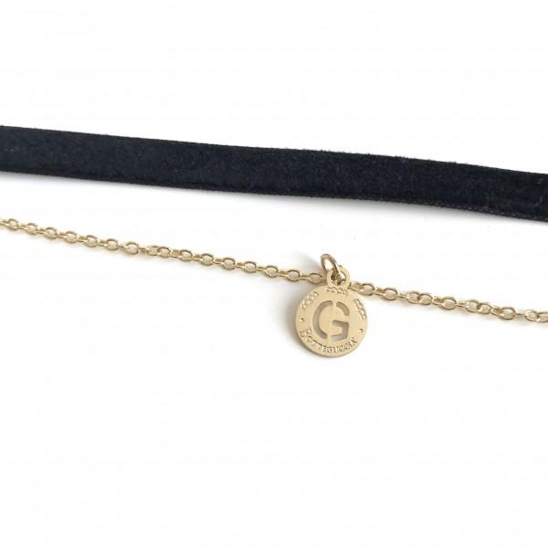 Collana in velluto nero regolabile e catena con 1 charm