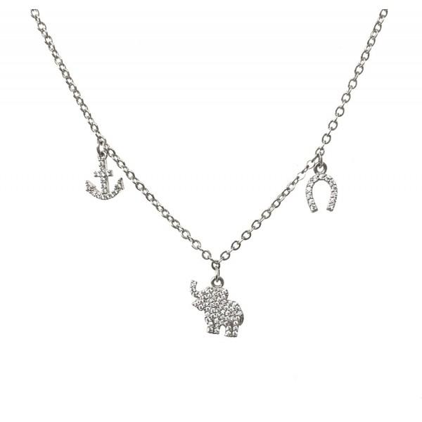 Collana Catena Semplice 32 cm più allungo ancora-elefantino-ferro di cavallo zirconi