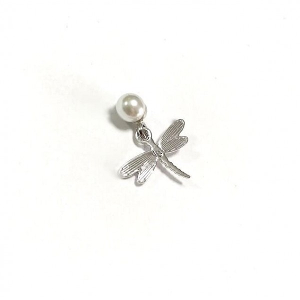 Pendente singolo perla+charm