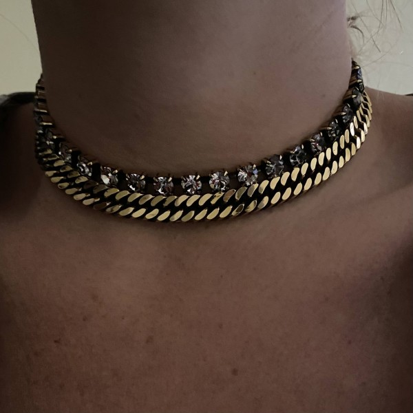 Choker Groumette&Strass