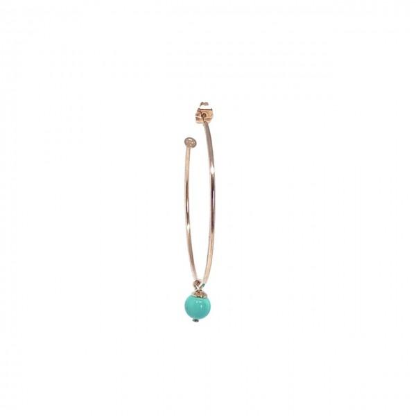 Cerchio singolo 5 cm Perla Corallo/Turchese