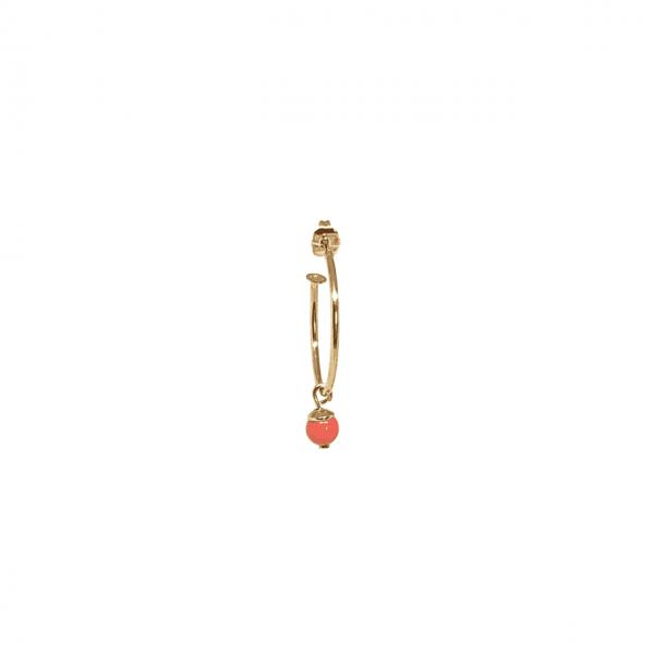 Cerchio singolo 3 cm Perla Corallo/Turchese