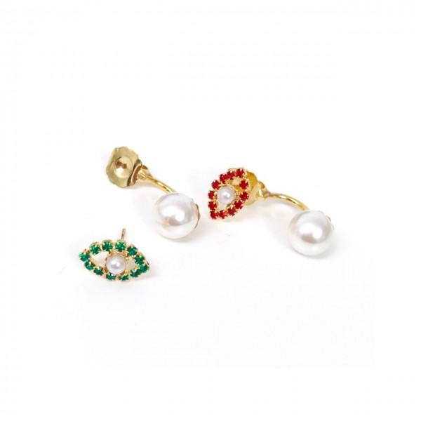 Coppia orecchini piercing Occhi+Perle