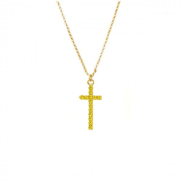 Collana catena sottilissima 35 cm più allungo Croce lunga