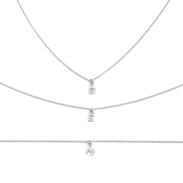 Tre Collane Catena Semplice Sottilissima 35 cm più allungo di 8 cm iniziale zirconi