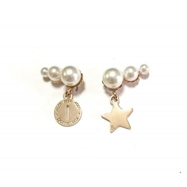 Coppia tris di perle 1 charm e 1 lettera